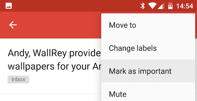 Android Gmail Mark Message as Important