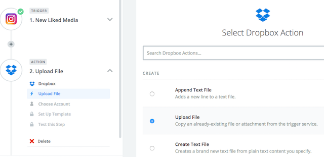 Instagram Download Likes Dropbox Upload File Step 1
