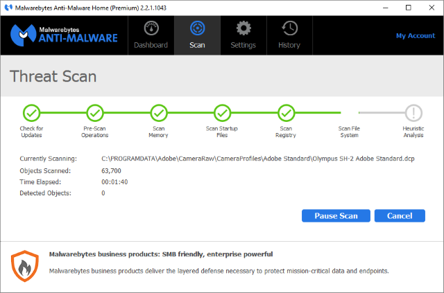 MalwareBytes Threat Scan Screenshot