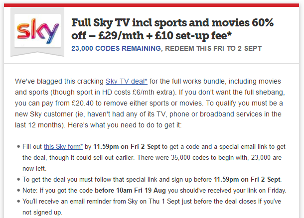 Money Saving Expert Sky Deal Tip Example