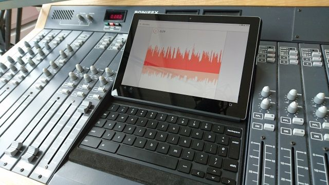 Podcasting Studio Equipment With Laptop and Soundboard