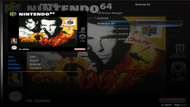 GoldenEye 007 on Kodi ROM Collection Browser