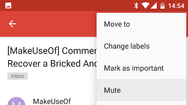 Android Gmail Mute Conversations