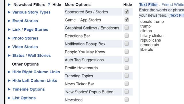 The Key One For The Purpose Of Filtering Out Political Posts Though Is The Text Filter Off To The Right Of The Main Options Page Here Youll Just List All