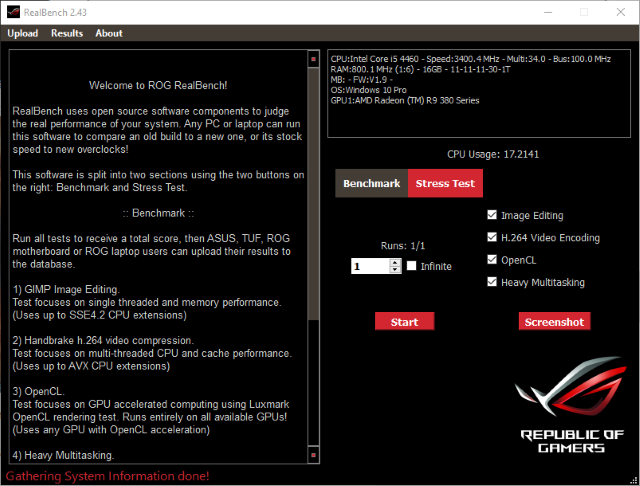 RealBench Stress Test Tool Screenshot