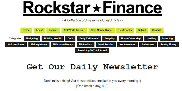 Rockstar Finance Newsletter Signup Screenshot