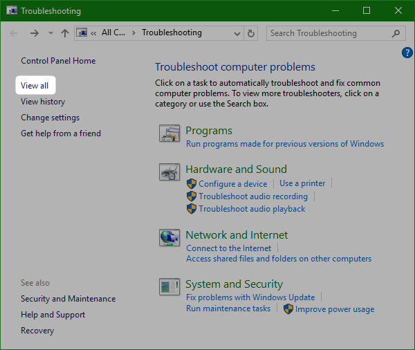 view-all-windows-10-troubleshooter
