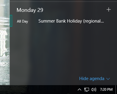 windows 10 calendar agenda taskbar