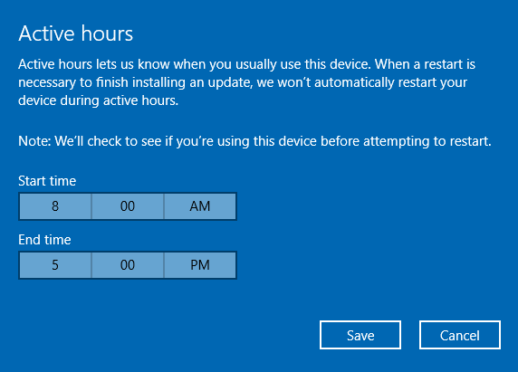 windows 10 update active hours