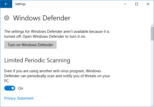 windows defender periodic scanning