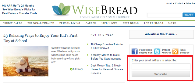 WiseBread Finance Website Screenshot