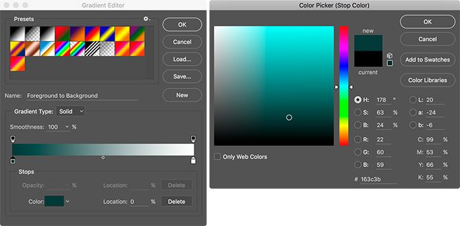 Color Picker Teal in Photoshop