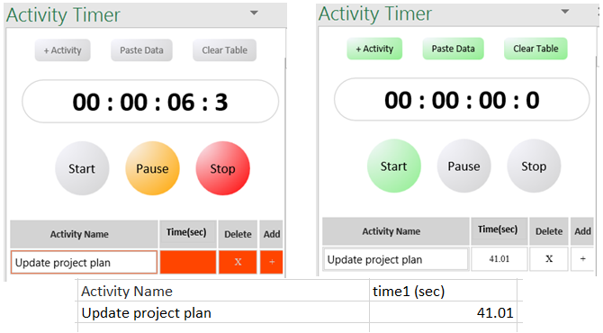 Excel Add-In Activity Timer