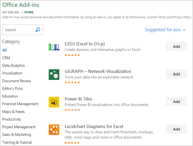 Microsoft Office Store Excel Add-Ins