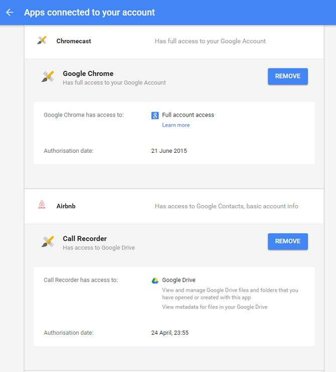 Google Connected Apps Screenshot