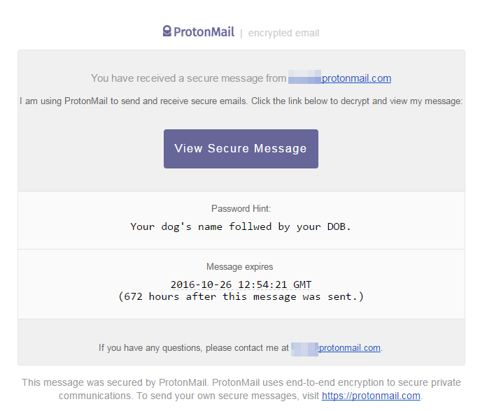 ProtonMail Encrypted Message Sent