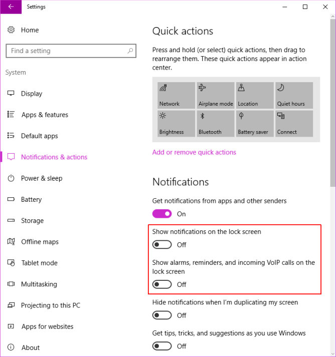 Windows 10 Lock Screen Notification Settings
