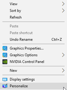 Windows 10 Personalize Context Menu