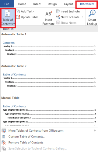 Add Table of Contents in Word
