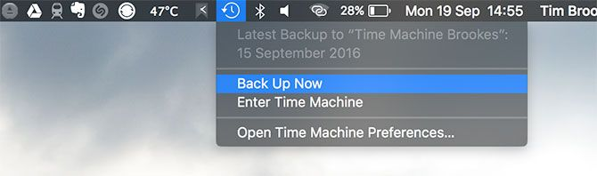 Time Machine Back Up Now Mac
