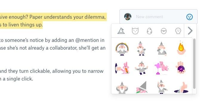 Dropbox Paper Comments and Stickers