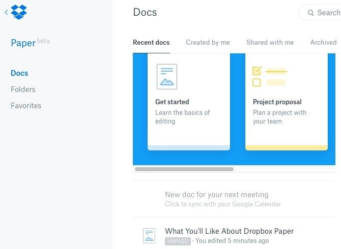 Dropbox Paper Docs Interface