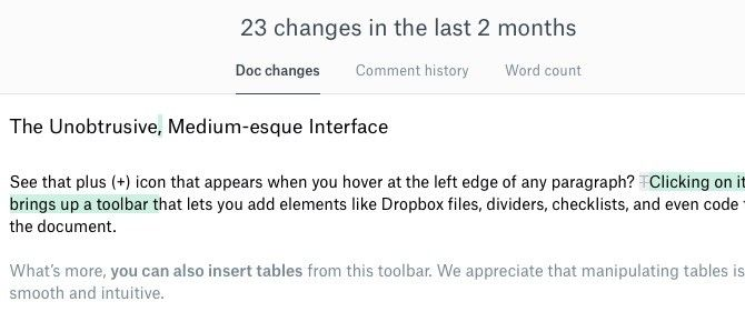 Dropbox Paper Document History
