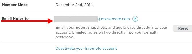 Email Notes to Evernote