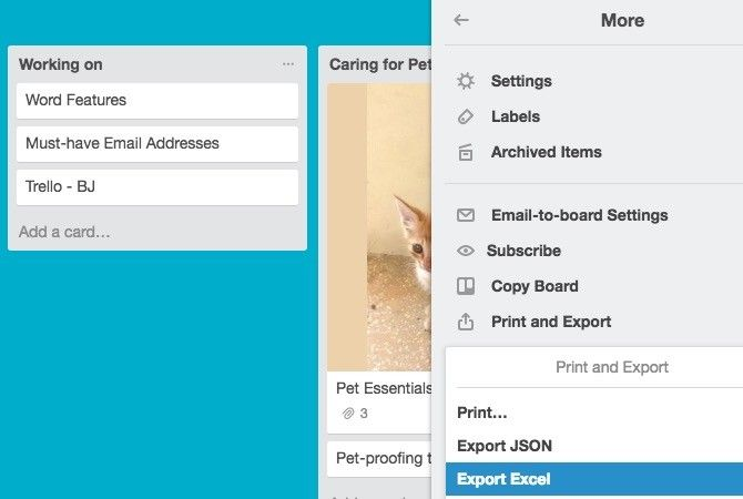 Trello Extension Export Trello to Excel