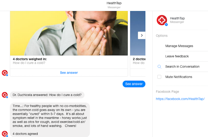 facebook messenger bots healthtap 10 awesome facebook messenger bots you aren't using