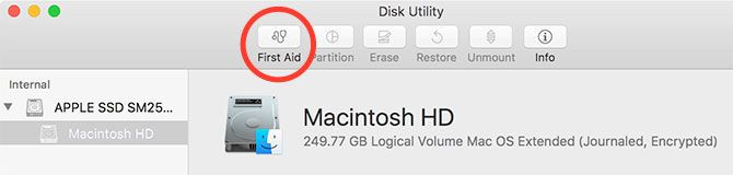 First Aid Action in Disk Utility Mac