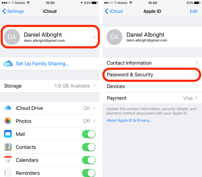iCloud Security Settings on iOS