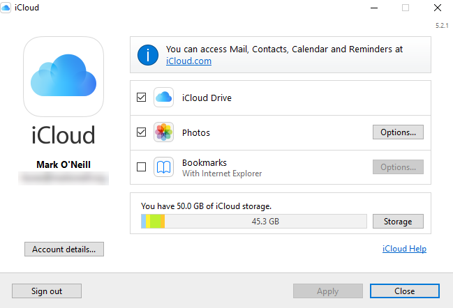 iCloud Control Panel Settings Screenshot