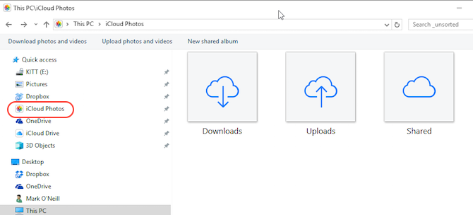 iCloud Control Panel Photos in Windows File Explorer Screenshot