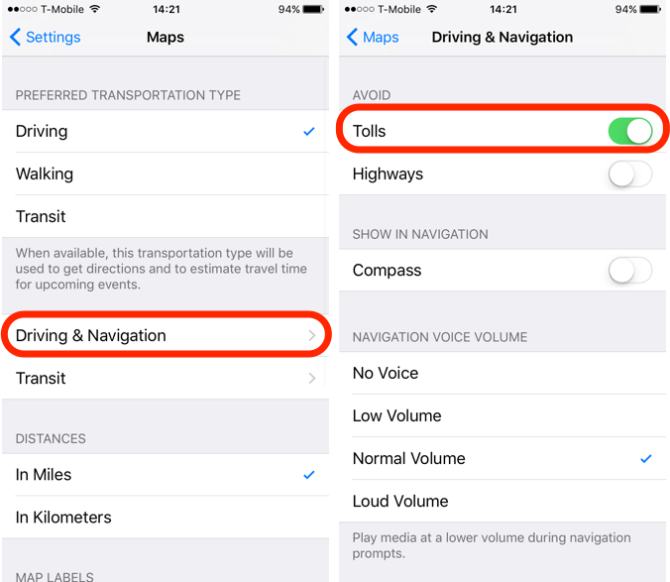iOS 10 Feature Avoid Tolls in Directions