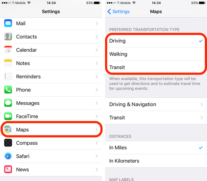 iOS 10 Feature Preferred Mode of Transportation