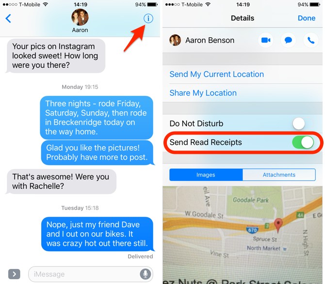 iOS 10 Feature Read Receipts