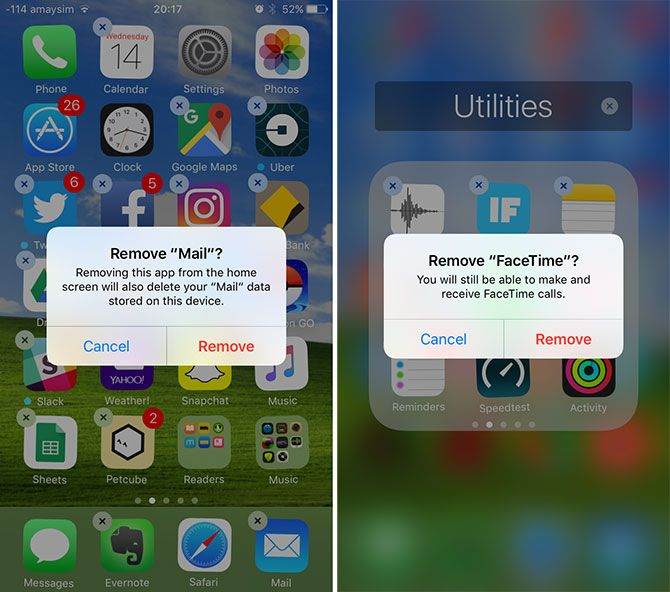 iOS 10 Stock Apps Removal