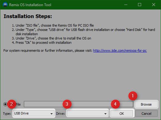 Remix os installation tool