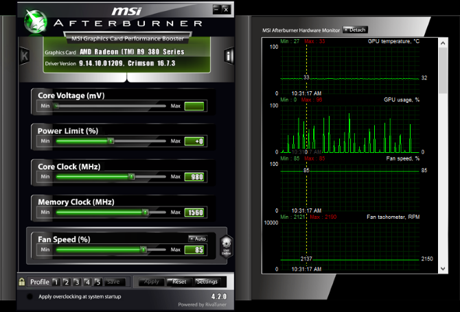 MSI Afterburner Overclocking Tool