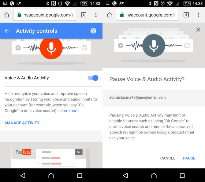 Disable Voice Activity on OK Google Now