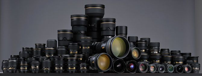 All Nikkor Lenses Lined Up Together