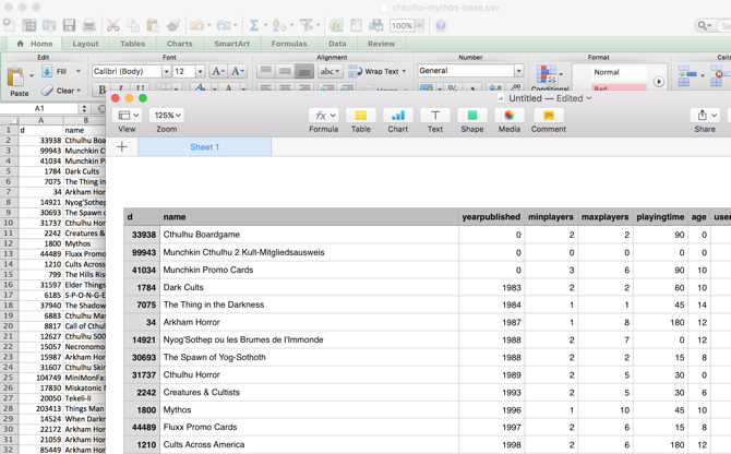 User Interface: Numbers vs. Microsoft Excel