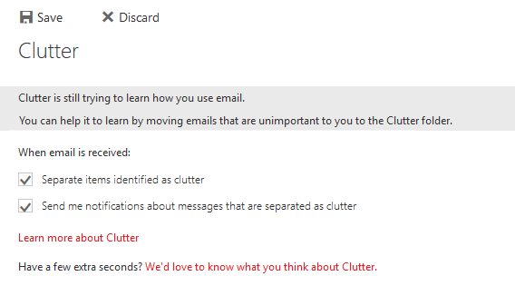 Clutter option Outlook