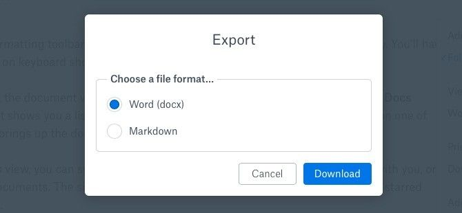 Dropbox Paper Export Options