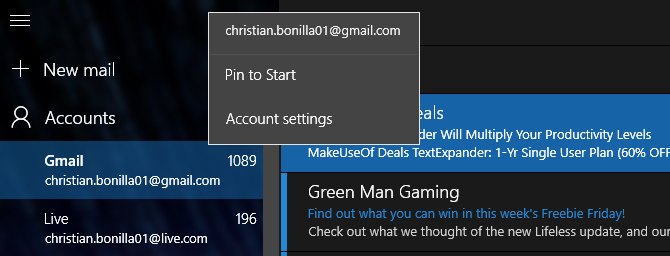 Windows 10 Mail Pin to Start Menu