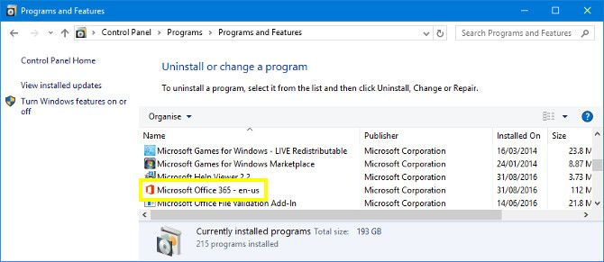 Programs and Features on Windows 10