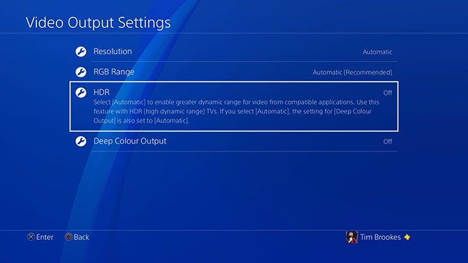 PlayStation 4 HDR Feature Settings