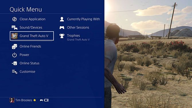 PlayStation 4 Quick Menu