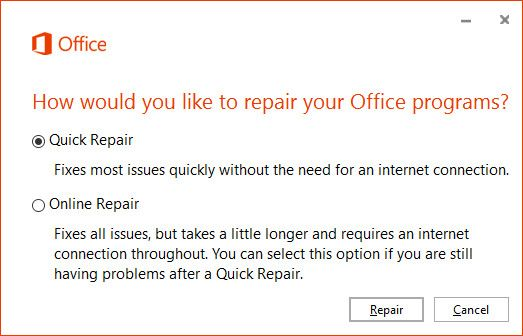 Office Quick Repair Prompt
